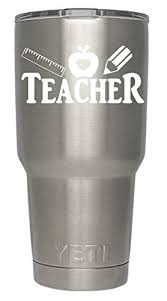 Teacher Ruler Pencil Apple Decals White For Yeti Cups We Don T Sell Tumblers Teachers Educator Vinyl Decal Quote Sticker For All Brands Of Tumblers Mugs And Cups Decals 2 75 H X 4