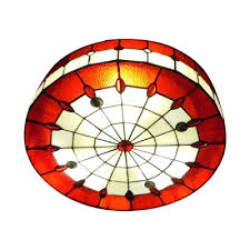 red stained glass jewels decor flush