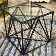 finds metal and glass side table