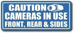 Vehicle Camera In Use Front Rear Sides Safety Decal Sticker 3 5 X 8 5 Ebay