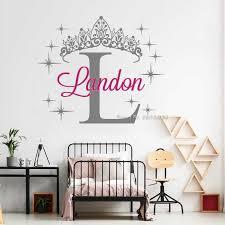 Custom Name Princess Crown Sticker Creative Princess Bedroom Wall Decals Art Diy Self Adhesive Girls Nursery Wallpapers Lc1692 Leather Bag