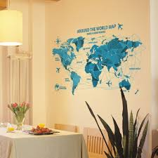 Buy Livegallery Removable Blue Huge World Map Wall Decal Quotes Around The Word Travel Word Map Peel Stick Wall Stickers Murals Wallpaper For Home Wall Living Room Bedroom Offices Background Decoration