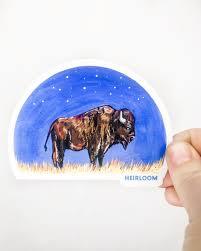 Bison Night Sky Sticker Heirloom Custom Vinyl Stickers Heirloom Apparel Design
