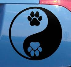 Dog Paw Yin Yang Car Sticker Tenstickers