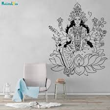 Large Size God Vinyl Wall Decal Indian Goddess Hinduism Lotus Om Meditation Stickers Cool Exquisite Poster Yt4190 Leather Bag