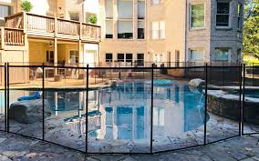 Removable Pool Fence With Lock In Deck Posts Protect A Child In 2020 Pool Safety Fence Pool Patio Pool Fence