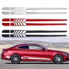 Professional 1 Pair Car Styling Racing Stripe Side Skirt Decals Sticker Decoration Wish
