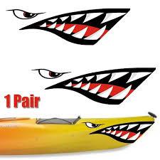 2x Shark Teeth Decals Sticker Fishing Boat Canoe Kayak Graphics Accessories Car Wish