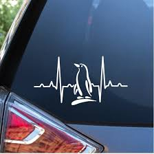 Penguin Love Heartbeat Window Decal Sticker Custom Sticker Shop
