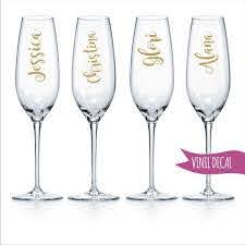 Custom Name Decal For Wine Glass Champagne Flute Diy Decal Etsy