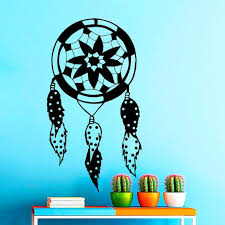 Shop Dream Catcher Lotus Design Feathers Home Interior Vinyl Sticker Decal Mural Wall Decor Sticker Decal Size 44x60 Color Black Frst On Sale Overstock 15389761