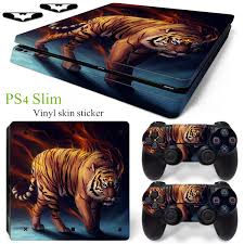 Fashion Hot Fire Of Tiger Design Vinyl Decal Protector Skin Cover For Playstation 4 Ps4 Slim Console Sticker 2pcs Controller Skin Wish