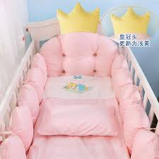 cotton crib bed linen kit crown design