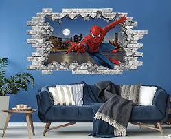 Amazon Com 3d Spiderman Wall Decal Superhero Vinyl Sticker Murals Hole In The Decal Marvel Comics Wall Sticker Boys Room Ps224 Handmade