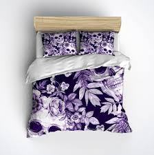 lightweight purple print skull bedding