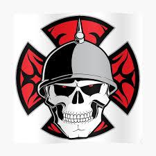 Red Cross Skull Helmet Biker Motorcycle T Shirt Sticker By Epdllc Redbubble