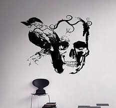 Amazon Com Gothic Raven And Skull Wall Decal Vinyl Sticker Art Decor Home Interior Housewares Room Bedroom Design Home Kitchen