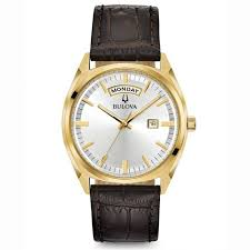 gold tone brown leather watch 97c106