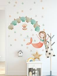 Kids Mermaid Girls With Pearl Oyster Wall Decal Sticker Wall Decals Wallmur