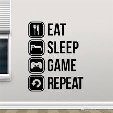 Eat Sleep Game Repeat Decal Gaming Vinyl Sticker Joystick Gamepad Gamer Wall Art Design Teen Bedroom Decoration Vinyl Decals Walls Vinyl For Wall Decals From Joystickers 18 Dhgate Com
