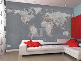 Contemporary Grey World Map Wallpaper Mural Wallpaper Mural Art Com