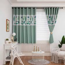 New Leaves Print Blackout Curtains Short For Bedroom Living Room Children S Room Elegant Green Window Curtains Grommet Top Panel Curtains Aliexpress