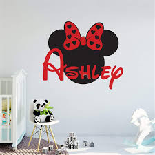 Amazon Com Oisiu Mickey Mouse Wall Sticker Decal Personalized Minnie Mouse Custom Names Wall Decal Nursery Name Sign Removable Girl Kids Room Decor Home Kitchen