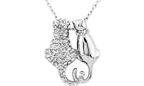 crystal cats necklace pendant