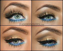 gold makeup tutorial with blue under