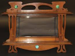 arts and crafts oak overmantel mirror