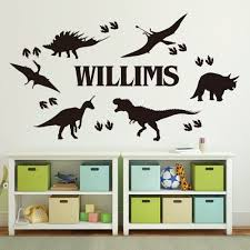 Personalized Dinosaur Foot Print Name Wall Sticker Boy Room Kids Room Custom Name Dino T Rex Jurassic Park Wall Decal Vinyl Art Buy At The Price Of 7 70 In Aliexpress Com
