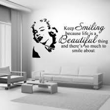 Marilyn Monroe Keep Smiling Wall Art Sticker Mural Decal Quote Diy Sticker Wall Art Wall Quotes Decals Modern Wall Decals