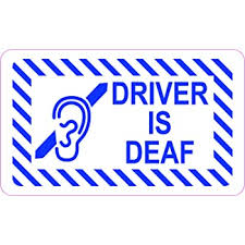 Amazon Com Stickertalk Driver Is Deaf Vinyl Sticker 5 Inches By 3 Inches Office Products