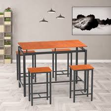 Brown Modern 5 Pieces Dining Room Table Set Segmart Counter Height Dining Table And 4 Chairs