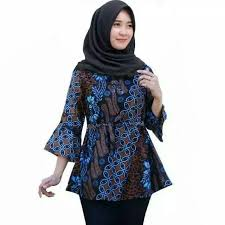Contoh batik yang dipadukan dengan kain polos, lurik, brokat, untuk ke pesta atau hari biasa. Cod Azka Batik Baju Batik Wanita Atasan Kombinasi Terbaru Modern Batik Blouse Wanita Cewek Motif Kawung Biru Lazada Indonesia