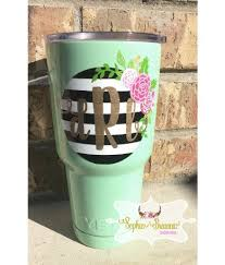 Striped Floral Monogram Decal Floral Monogram Sticker Custom Tumbler Vinyl Sticker Yeti Rtic Sic Yeti Cup Designs Decals For Yeti Cups Rtic Cup Designs