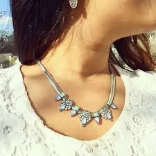 statement necklace silver toned perry