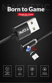 TOPK AM51 1 m Từ Cáp USB 2.4A Cáp Micro USB cho Samsung Xiaomi Huawei Điện  Thoại Di Động L-TYPE ĐÈN Sạc LED dây cáp