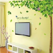 Huge Size Big Green Leaves Tree Branch Plant Removable Wall Stickers Home Decor Mural Butterfly Flower Wall Decal Home Decor Decal Decals Kawasakidecorative Furniture Decals Aliexpress