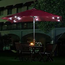red patio umbrella with led lights best