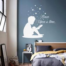 Child Quote Once Upon A Time Wall Decal For Kids Rooms Little Boy Reading Book Vinyl Stickers Books Decals Stars Boys Room A21 Wall Stickers Aliexpress