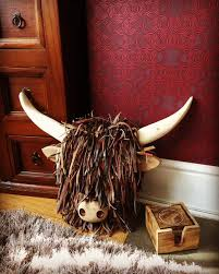 wall mounted highland cattle cow faux