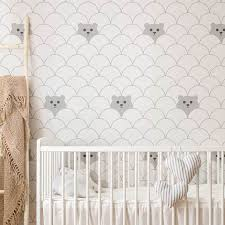 Bear Pattern Wallpaper For Nursery Diy Interior Makeover By Livettes