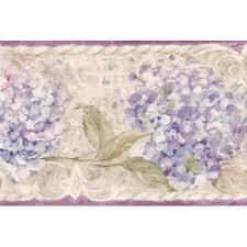 purple cream blue fl wallpaper border