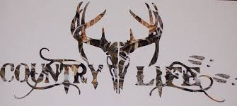 Country Life Deer Skull Head Window Decal Sticker 4 Colors 4x4 Jeep Muddy Pink Camo Truck Mega Ram Square Body Mud Tr Hunting Decal Deer Skulls Truck Stickers