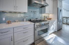 white beach house kitchen with linear
