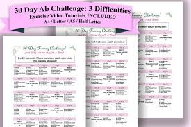 30 day abs challenge fitness planner