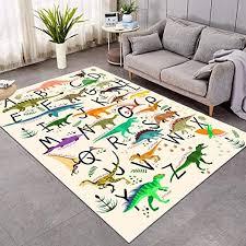 Amazon Com Sleepwish Area Rug Cute Dinosaur Large Carpet For Living Room Bedroom Colorful Alphabet Non Slip Kids Boys Playing Room Mat 4 X 6 Kitchen Dining