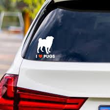 I Love Pugs Vinyl Car Sticker Dog Days