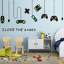 Amazon Com Easu Game Wall Stickers Game Controllers Vinyl Wall Decal Peel Stick Art Decor Playroom Wall Decals Children Gift Nursery Boys Room Wall Vinyl Decal Home Kitchen